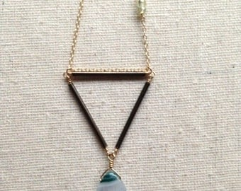 Large Triangle and Green Agate necklace