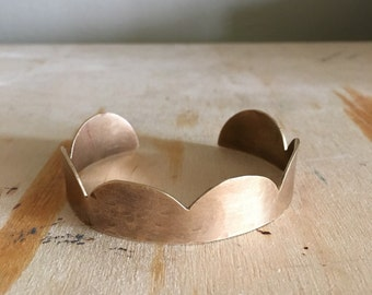 Scallop Cuff - Brass cuff with scalloped detail - ready to ship