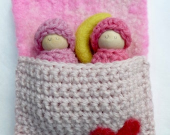 Bunting dolls in a sleeping bag two peg dolls one wool moon ready to ship