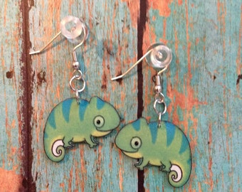 Handcrafted Plastic Whimsical Cute Gecko Reptile Earrings