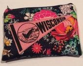 Wisconsin Pennant Zipper Makeup Ereader Bag Pouch