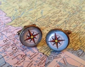Compass Cufflinks made from Vintage Atlas Pages, Map Cuff Links, Guy Gift