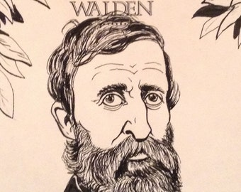 Henry David Thoreau original illustration on the title page of Walden / Book Lover Gift / Original Art / Literary Art / Gift for him