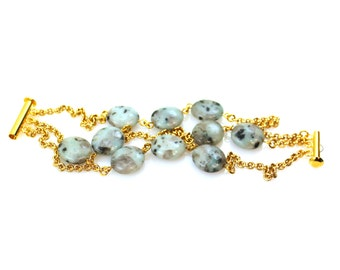 Blue Bracelet, Blue Statement Bracelet, Jasper Bracelet, Gemstone Bracelet, Blue Gem Bracelet, Jasper Gold Bracelet, Gold Gem Bracelet