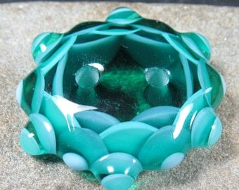 Teal and turquoise multi layered two hole lampwork button bead