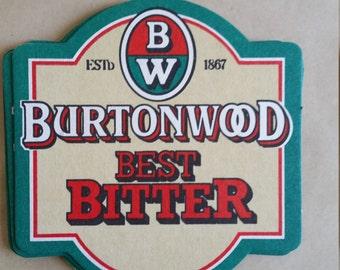 Vintage BurtonWood Best Bitter Cardboard Coaster,  Brew Collector Mats, UK drink mats
