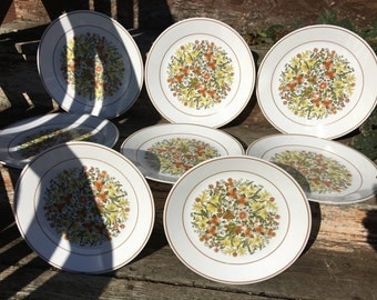 Set of 8 Vintage Corelle Indian Summer Pattern Dinner Plates Fall Colors Autumn Orange Green Brown Yellow Leaves and Flowers Replacement Set