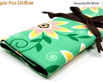 Sale 25% OFF Large Knitting Needle Case Organizer - Passionflower - 30 brown pockets for circular, straight, dpn, or paint brushes