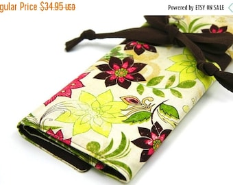 SALE Large knitting needle case - art tool organizer - cosmos - brown pockets for all size needles or paint brushes