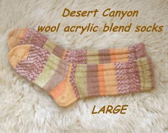 Desert Canyon Socks --- wool acrylic blend ---  LARGE