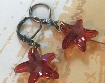 Starfish Earrings Red Magma Crystal and Antiqued Brass Leverbacks