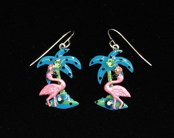 Pink Flamingo and Palm Tree Hand Painted Earrings