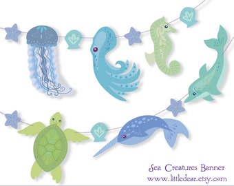 Printable Sea Creature blue green Banner PDF digital download Scrapbook Party Decorations