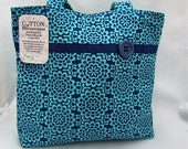 Handbag, Tote, Purse, Cotton, Women, turquoise, blue