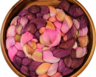 Nightsong  - hand-dyed Polwarth wool and silk (4 oz.) combed top roving