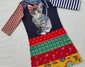 Size 6 (45 3/4 inch height) upcycled girls dress navy kitten