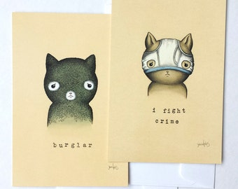 I Fight Crime and Cat Burglar Postcard Set