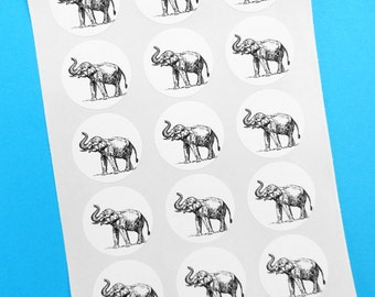 "Elephant Stickers 1"" One Inch Round Seals - B&W, Sheets of 15 - by Blossom Arts"