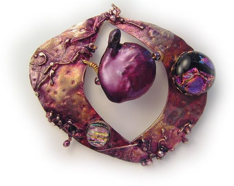 Purple wildpearl and dichroic   Pin / Pendant  in Sterling Silver and Married Metals   by Cathleen McLain McLainJewelry
