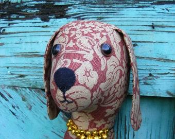 Fabric Trophy head. Decorative  wall hanging. Fake Taxidermy, stuffed head, Faux Taxidermy. Shabby chic. Dog  vintage samdersons