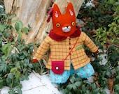 Poupée fille renard en softie peluche de laine de sac à main de le manteau en laine à carreaux