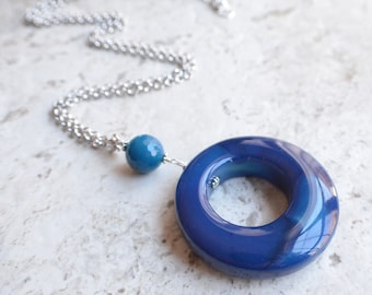 The Guggenheim- Blue Agate Silver Chain Necklace
