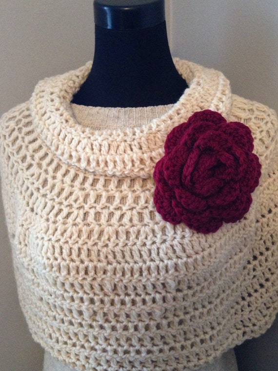 SALE! Boho Poncho, Chunky Crochet Cowl Neck Short Capelet with Garnet Flower Statement Brooch