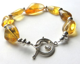 Chunky Citrine Nugget Bracelet - Bohemian Citrine Bracelet with Toggle Clasp - Sterling Silver Gemstone Bracelet - Sunshine Yellow Gemstones