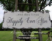 and they lived HAPPILY EVER AFTER Sign | Wedding Sign | Shabby Chic Wedding Sign | Wedding Decor | Wooden Sign | Distressed