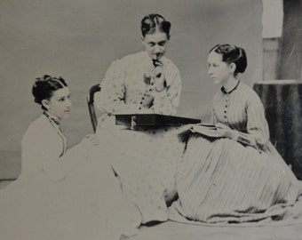 Antique Tintype Photograph - August 3, 1868 - The Ladies Draft A Letter