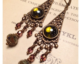 Giselle Victorian Earrings in Dark Olive and Pearl