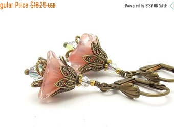 Peach Flower Earrings Vintage Peach Rose Pink Glass Swarovski Crystals Antiqued Goldtone Hawaii Beads