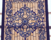 Beautiful Blue and Cream Stained Glass Panel