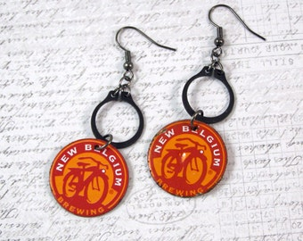 New Belgium Beer Bottlecap Earrings
