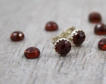 Garnet Stud Earrings, Garnet Post Earrings, Garnet Gemstone Earrings, January Birthstone Jewelry