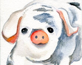 Pig watercolor painting original, black and white spotted pig, watercolor art, pig art painting, 5 x 7 pig decor, cute pig