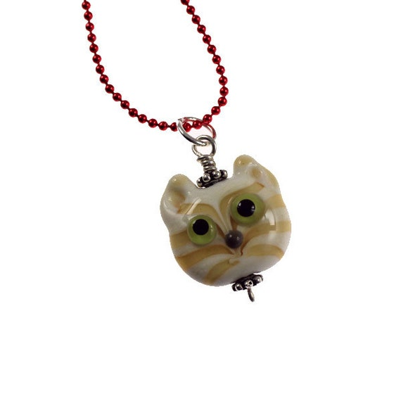 Cream Tabby Cat Face - Lampwork Glass Kitty Face - Ball Chain Necklace