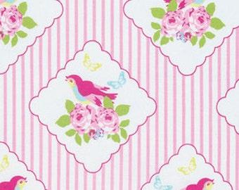 Framed Birdies in Pink Stripes.Bird, PINK,RED, ,/ Zoey's Garden by Tanya Whelan Fabric /- 1 Yard Cotton Quilting Fabric