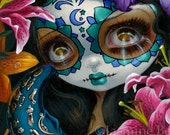 Milagros: La Luna day of the dead fairy art print by Jasmine Becket-Griffith 8x10 sugar skull moon flowers