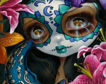 Milagros: La Luna day of the dead fairy art print by Jasmine Becket-Griffith 8x10 sugar skull moon flowers