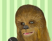 Chewbacca Does Karaoke Holiday Postcard (double-sided)