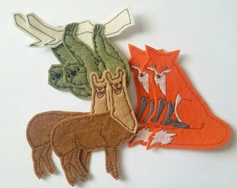 Iron On Patch - fox patch - sloth patch - llama patch - sew on patch - patches for jackets - patches for jeans - cute patches - set of 6