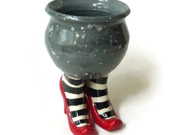 Ceramic Sex Pot with High Heel and Striped Stockings - Gray Black Red