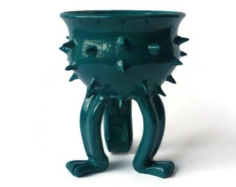 Ceramic Planter - Spiked Pot - Small Grouchy Planter Pot with Spikes and Sculpted Feet - Dark Turquoise Green