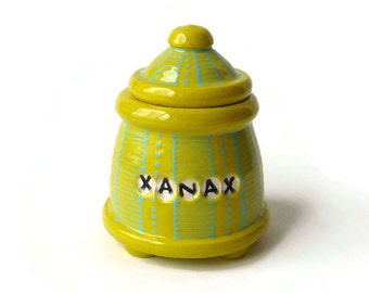 Yellow and Turquoise Trinket Jar with Feet  - XANAX