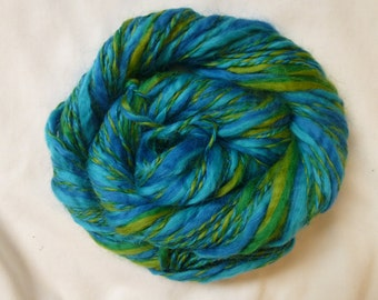 Blue Green Soft Spun Handspun thick and thin 100% wool hand dyed yarn