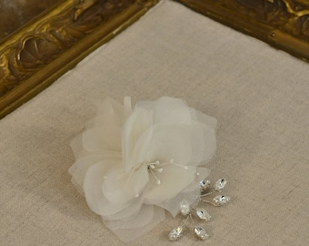 Bridal Silk Hair Flowers with Crystal Vine, Style No 062114