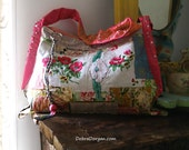 Antique Rose Bag, Vintage Textiles, Poppies, Floral, Patchwork, Rustic, Boho, Pretty Bag, Cross Body