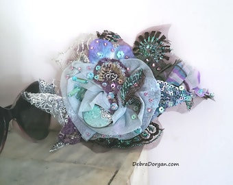 Flower Brooch, Blue, Lilac, Antique Embroidery, Silver Lace, Metallic Tulle, Aqua, Pretty, Sparkly, Romantic, Corsage