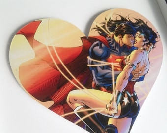 SUPERHERO HEART - Superman and Wonder Woman Framed Heart